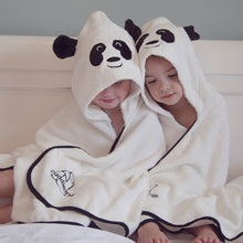 Load image into Gallery viewer, panda character hooded bath towel for toddlers made with bamboo