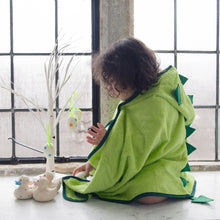 Load image into Gallery viewer, fun dinosaur character towel made with bamboo