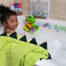 Load image into Gallery viewer, toddler hooded bath towel dinosaur design made with bamboo