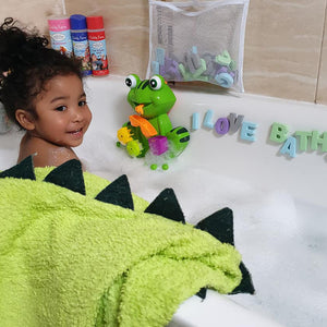 toddler hooded bath towel dinosaur design made with bamboo