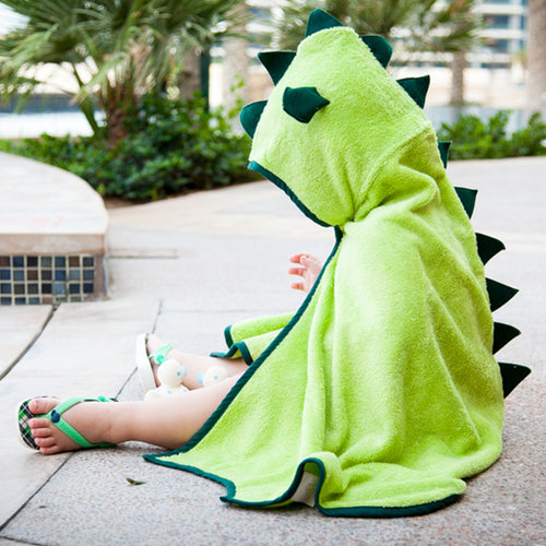 fun dinosaur character tail with ears and spikes for beach, swimming and bathtime