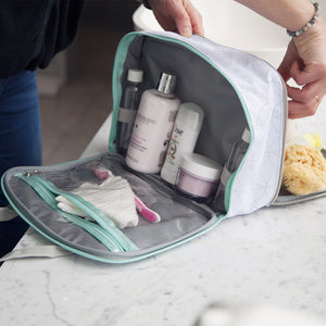 two sided washbag with separate wipe clean sections