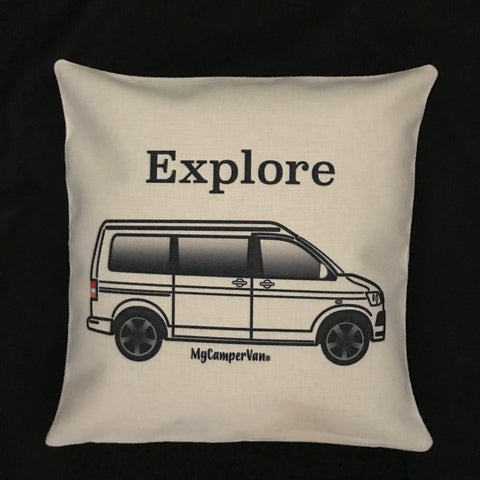 """MyCamperVan T6 personalised cushion cover """"Explore"""""""