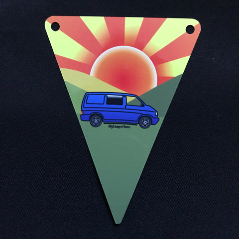 MyCamperVan T4 metal bunting sunrise design