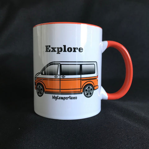 MyCamperVan T6 campervan ceramic mug orange white