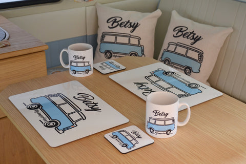 mycampervan personalised mugs, coasters, placemats and cushions, vw campervan gifts, vw camper van gifts