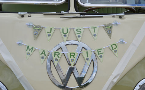 just married bunting vw camper van personalised