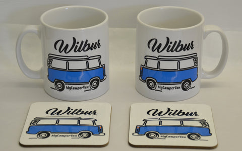 VW T2 Bay camper personalised mug and coaster
