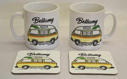 personalised mug and coaster vw camper van Bellamy