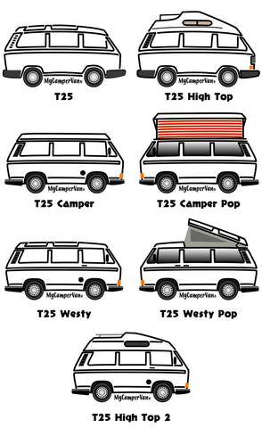 MyCamperVan T25 camper design versions