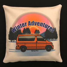 MyCamperVan personalised Bongo camper van cushion cover Winter Adventures