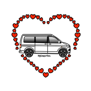 MyCamperVan ceramic heart, white T6 camper