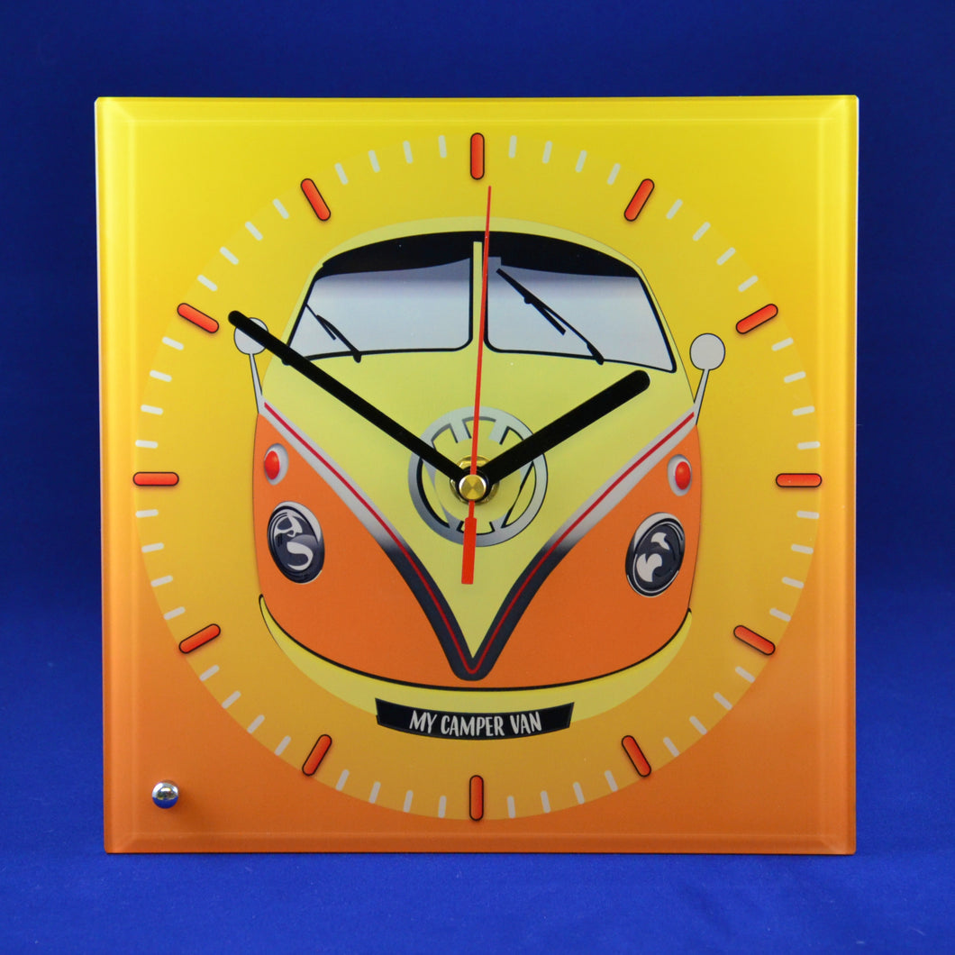 MyCamperVan glass clock vw split screen camper, camper van gift for him, camper gift