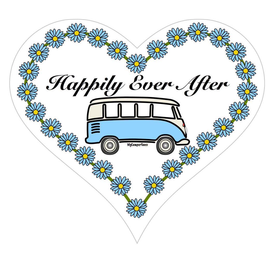 Hanging Heart Plaque - Splitty with Daisies