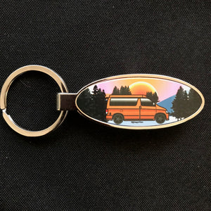 MyCamperVan Bongo keyring with Snowrise design