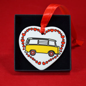 MyCamperVan ceramic heart yellow early bay