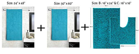 Lushomes High Absorbency 4 Pc Bath Set (Gents Towel, Ladies Towel, Bath mat and One Pc Contour)