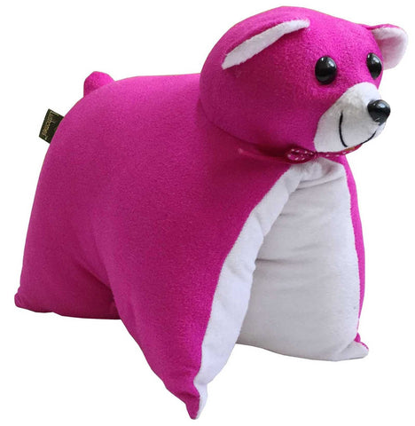 Lushomes Charming Pink Teddy Cushion (Size: 35x28 cms)