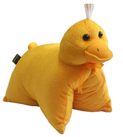 Lushomes Charming Yellow Duck Cushion (Size: 35x28 cms)