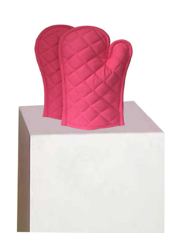 Lushomes Cotton Pink Set of 2 Oven Mittens - Lushomes
