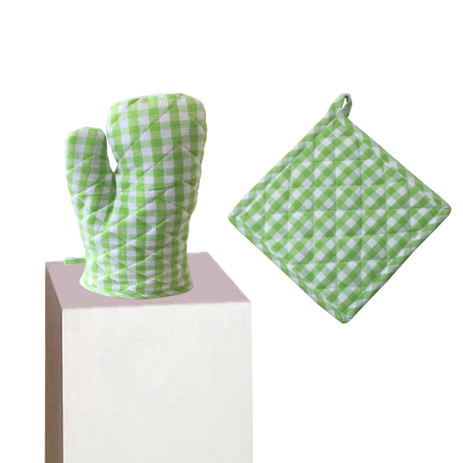 Lushomes Green Small Checks heat resistant Oven Set, Pack of 2 (1 Pot holder, Size : 8‰۝x8‰۝ & 1 Oven Mitten, Size : 7‰۝x13‰۝)