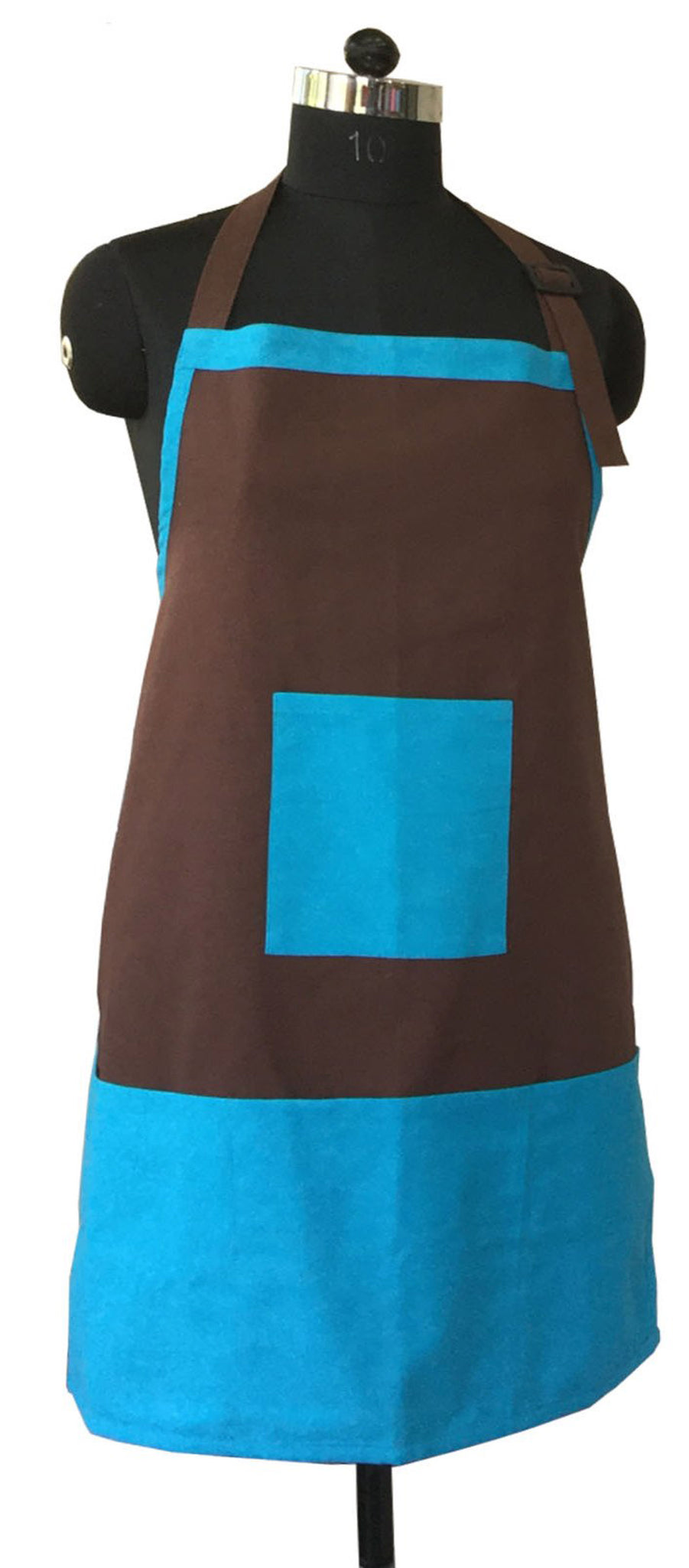 Lushomes Cotton Bachelor Button and French Roast Bi-color Apron