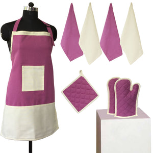 Lushomes Bordeaux and Ecru Bi-color Apron Set (8 pcs)