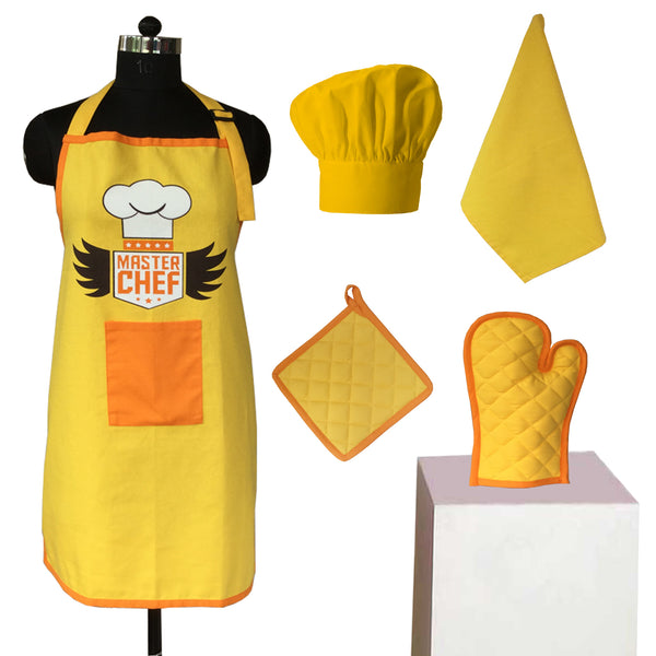 Lushomes Head Chef Yellow Special Chef Apron Set (5 pcs)