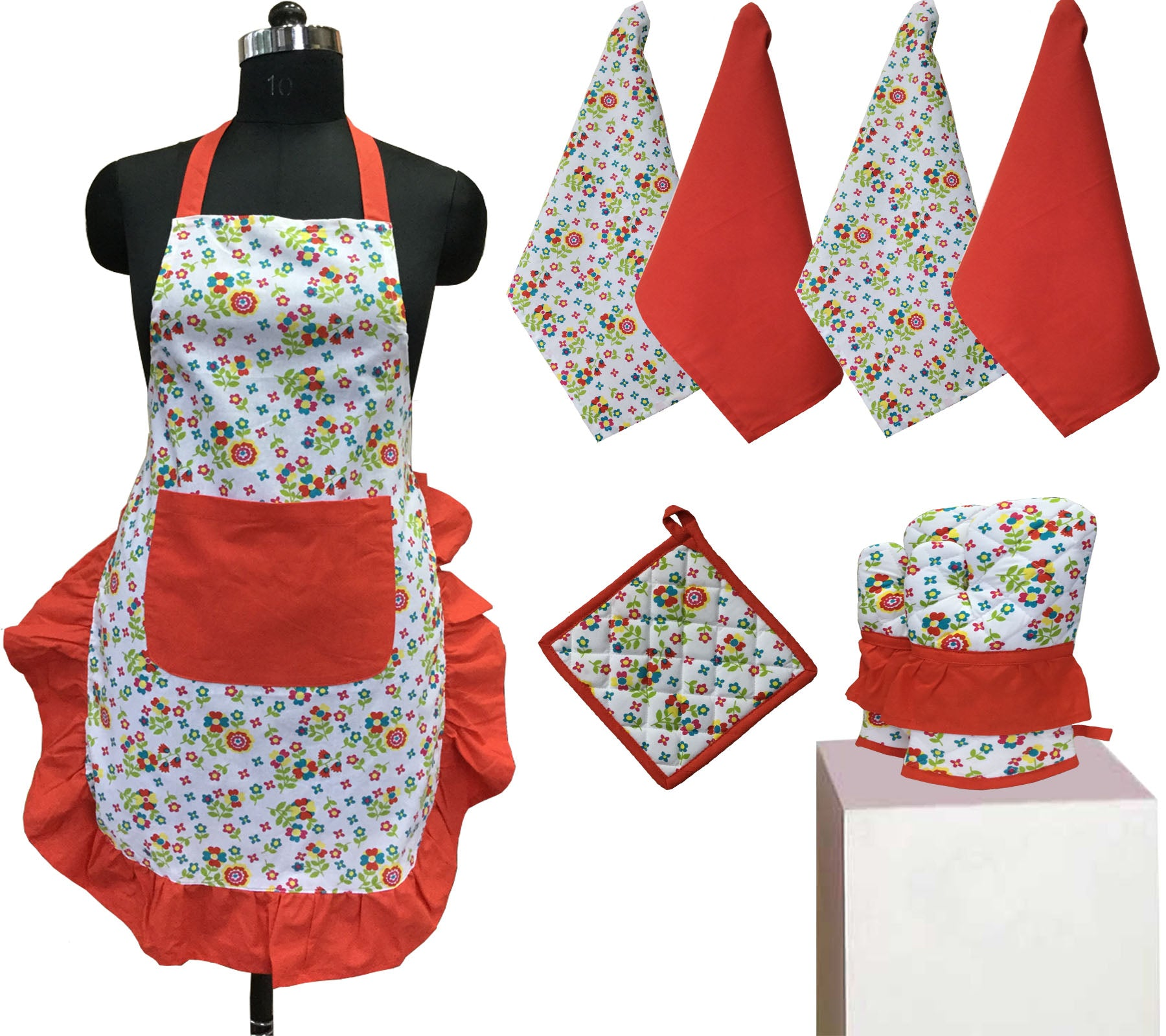 Lushomes Colorful Printed Frilly Apron Set ( 1 Apron, 4 Kitchen towels, 2 Oven Mittens, 1 Pot Holder)