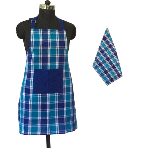 Lushomes Yarn dyed blue checks Aprons Set (1 pc Apron and 1 pc Kitchen Towel)