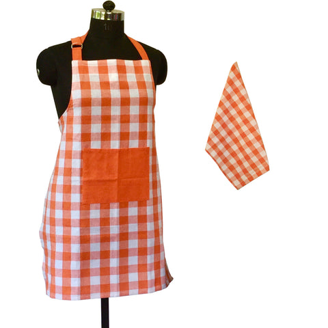 Lushomes Yarn dyed orange checks Aprons Set 1 Apron and 1 Kitchen Towel
