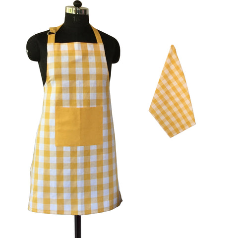 Lushomes Yarn dyed yellow checks Aprons Set 1 Apron and 1 Kitchen Towel