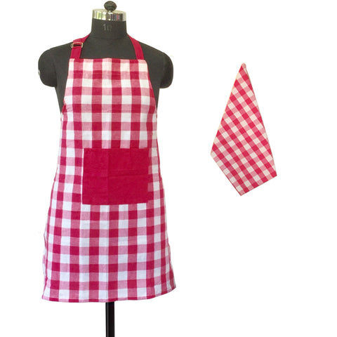 Lushomes Yarn dyed lilac checks Aprons Set 1 Apron and Kitchen Towel