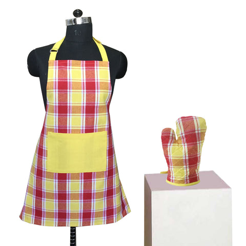 Lushomes Yarn dyed red and lemon yellow checks Apron Set (1 Apron, Size : 24‰۝x32‰۝ & 1 Oven Mitten, Size : 7‰۝x13‰۝)