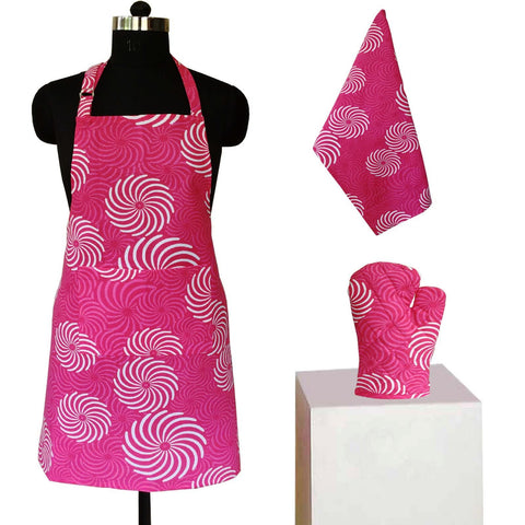 Lushomes Pink Cotton Printed Kitchen Co-ordinate Set (Pack of 3 pcs)