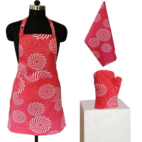 Lushomes Red Cotton Printed Kitchen Co-ordinate Set (Pack of 3 pcs)