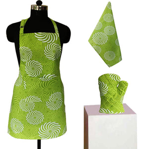 Lushomes Green Cotton Printed Kitchen Co-ordinate Set (Pack of 3 pcs)