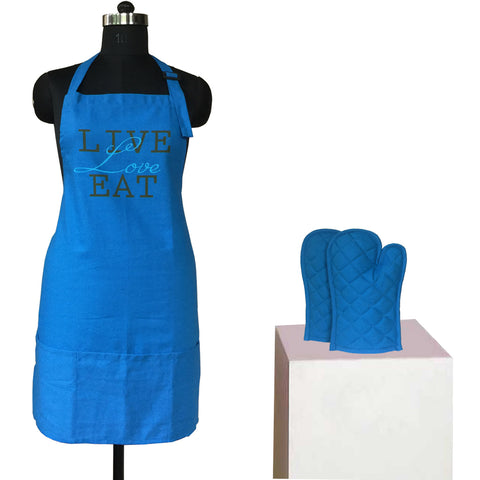 Lushomes Cotton Witty Blue Live Love Eat Apron Set (1 Apron & 2 Oven Mittens)
