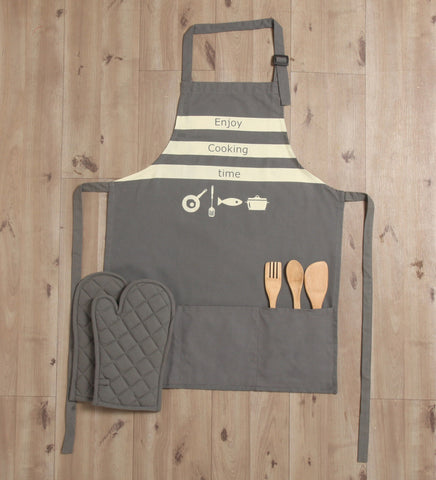 Lushomes Cotton Witty Grey Enjoy Cooking Time Apron Set (1 Apron & 2 Oven Mittens)