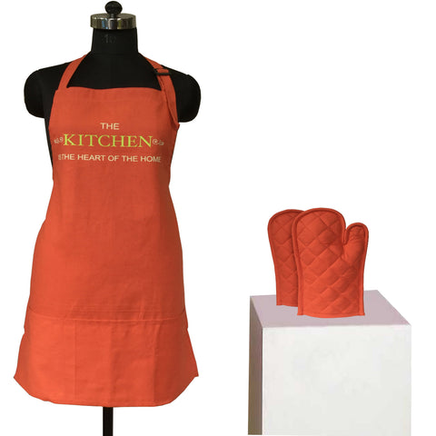 Lushomes Cotton Witty Maroon Kitchen is the Heart Apron Set (1 Apron & 2 Oven Mittens)