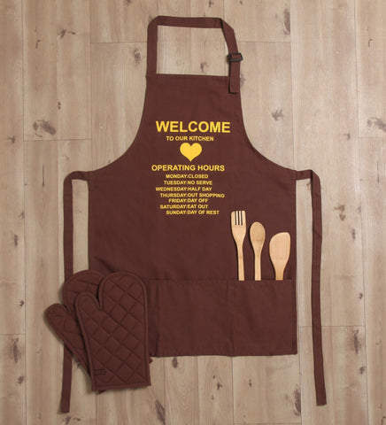 Lushomes Cotton Witty Brown Welcome to our Kitchen Apron Set (1 Apron & 2 Oven Mittens)