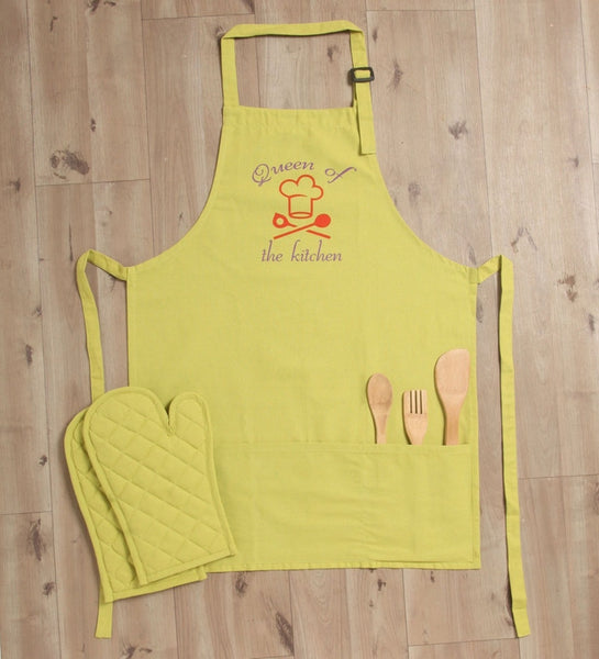 Lushomes Cotton Witty Green Queen of the Kitchen Apron Set (1 Apron & 2 Oven Mittens)