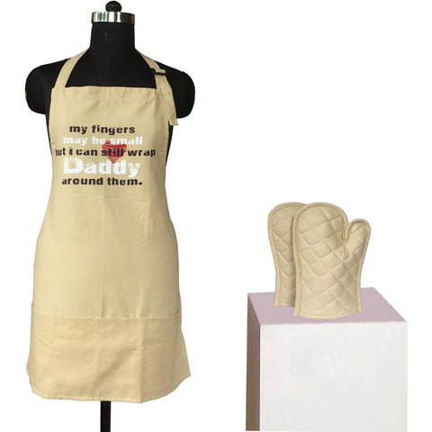 Lushomes Cotton Witty Beige Daddy Apron Set (1 Apron & 2 Oven Mittens)