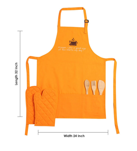 Lushomes Cotton Witty Orange Good Cup of Tea Apron Set (1 Apron & 2 Oven Mittens)