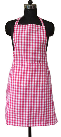 Lushomes Pink Gingham Checks Apron with Pocket and Adjustable Buckle