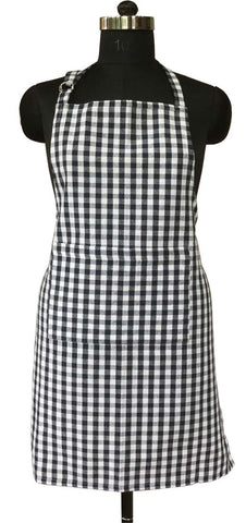 Lushomes Navy Blue Gingham Checks Apron with Pocket and Adjustable Buckle
