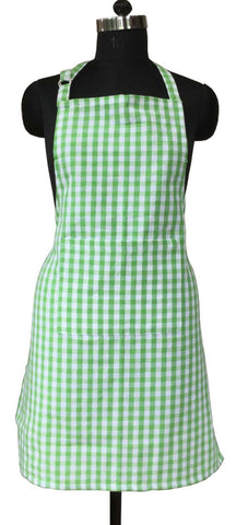 Lushomes Green Gingham Checks Apron with Pocket and Adjustable Buckle
