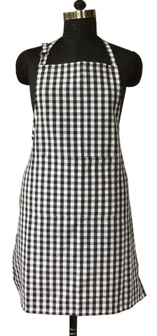 Lushomes Black Gingham Checks Apron with Pocket and Adjustable Buckle