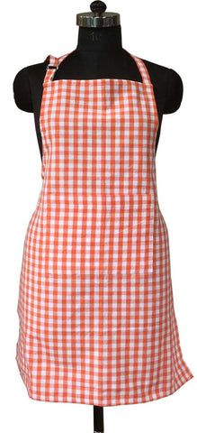 Lushomes Orange Gingham Checks Apron with Pocket and Adjustable Buckle
