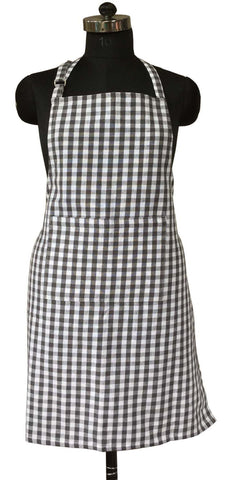 Lushomes Grey Gingham Checks Apron with Pocket and Adjustable Buckle